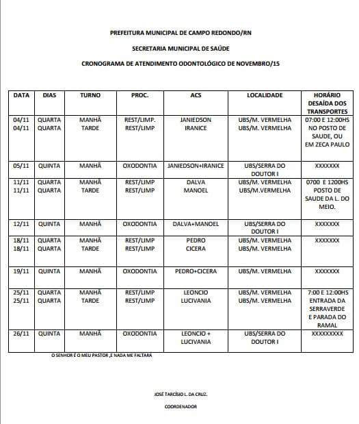 CRONOGRAMA DE ATENDIMENTO ODONTOLÓGICO