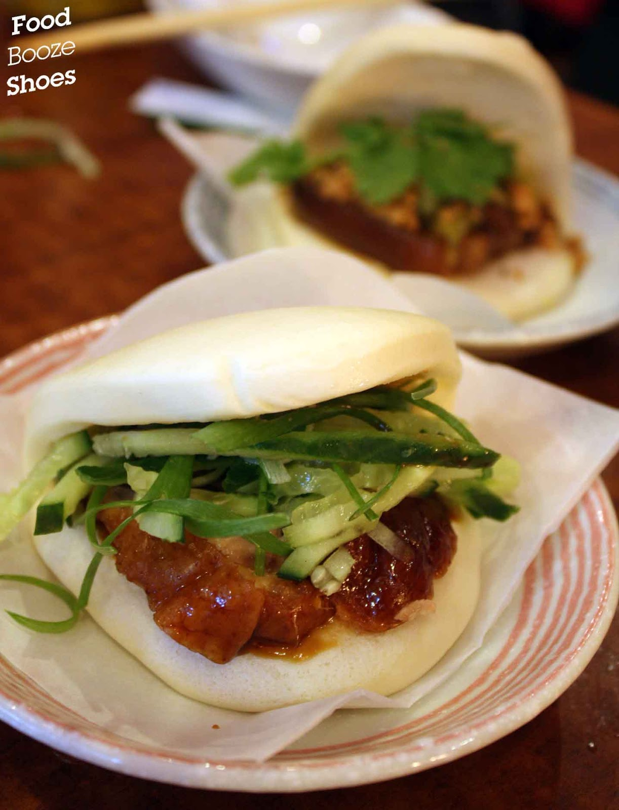 Food Booze And Shoes Mao Squishy Burger Steamed Bun With Roast Duck Shallot Cucumber Hoi Sin Sauce