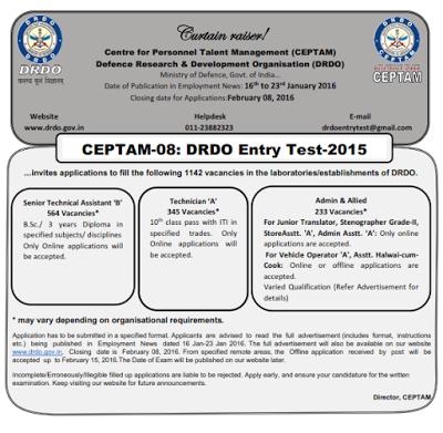 Recruitment in DRDO - 1142 Vacancies(B.Sc & ITI Qualification)