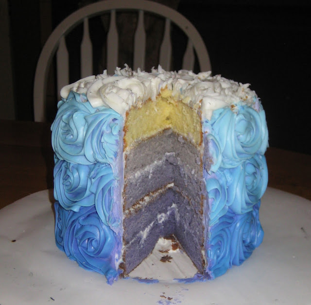 Blue/Purple Ombre Rose Cake - View of Cake Inside