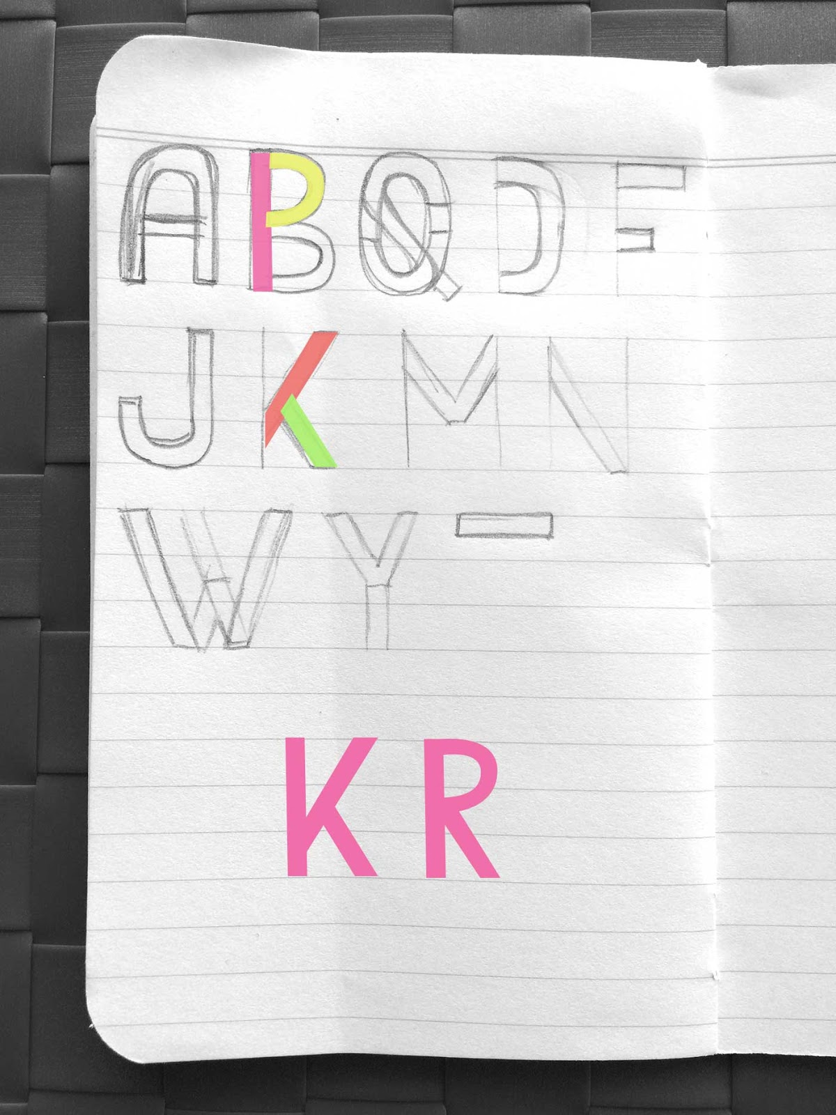 Drawing letters K and R - Create a font with minimal sketching