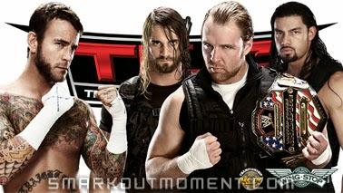 Seth Rollins Dean Ambrose Roman Reigns vs CM Punk TLC 2013 PPV