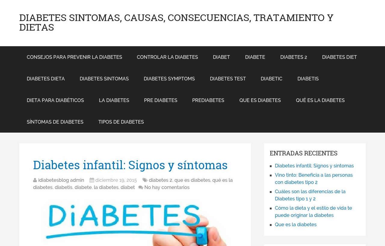 Diabetes sintomas, causas, consecuencias, tratamiento y dietas