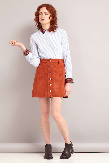 orange suede skirt, sister jane suede skirt,