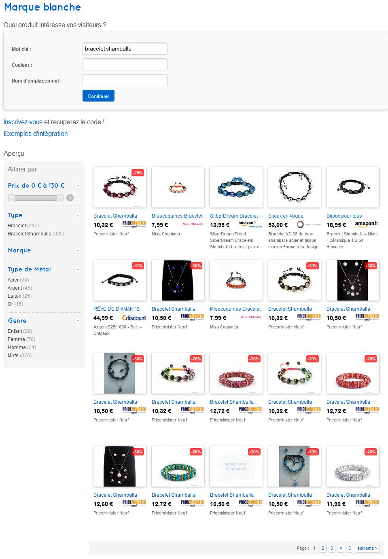 Vshop est un comparateur de produit en marque blanche et widget. Il vous permet de vendre des produit sur votre site Internet.