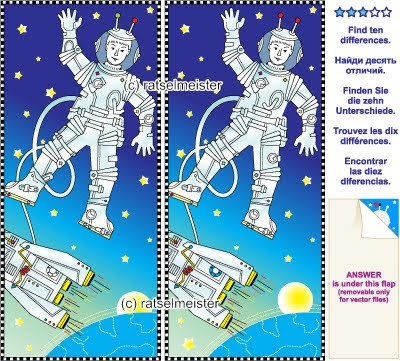 Mental gym visual logic puzzle: Find the ten differences between the two pictures - space, astronaut, rocket, Earth and stars