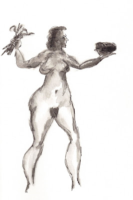Woman Choosing Between Carrots and a Meat Loaf, a drawing by F. Lennox Campello