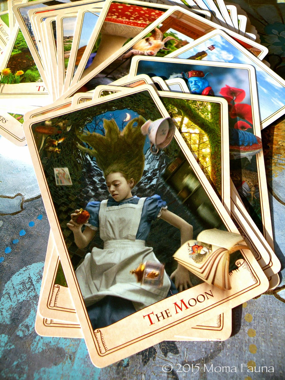 The Moon, from The Alice Tarot  by Baba Studio & Magic Realist Press.