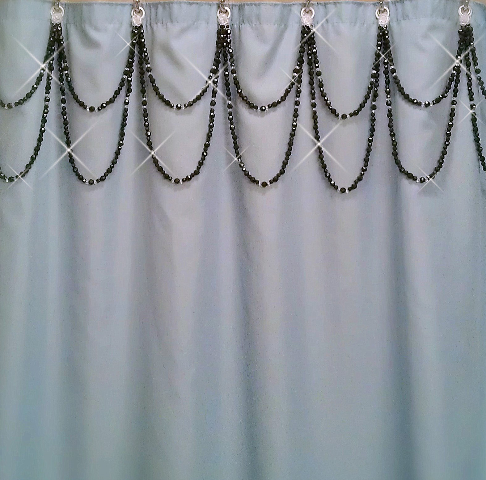 Teal and black shower curtain - Shadez Of Michelle Shower Curtain Bling Black And Crystal