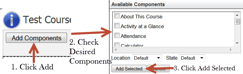 "Visual showing which options to select.  ""Add Components"" ""Check Desired Options."" ""Click Add Selected."""