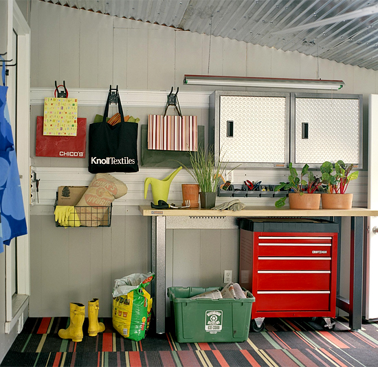 Garden storage and workbench in garage
