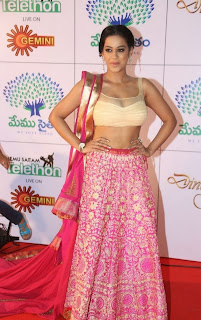 Actress Mumaith Khan  Picture Gallery in Half Saree at Memu Saitam Dinner with Stars Red Carpet  5.jpg