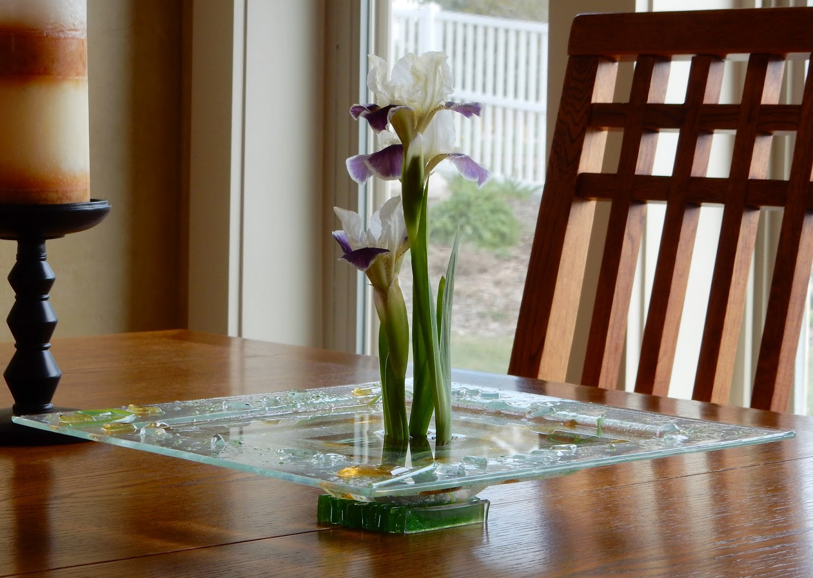 Footed, fused glass Ikebana bowl
