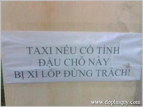 Thông báo cấm đỗ xe taxi hài hước