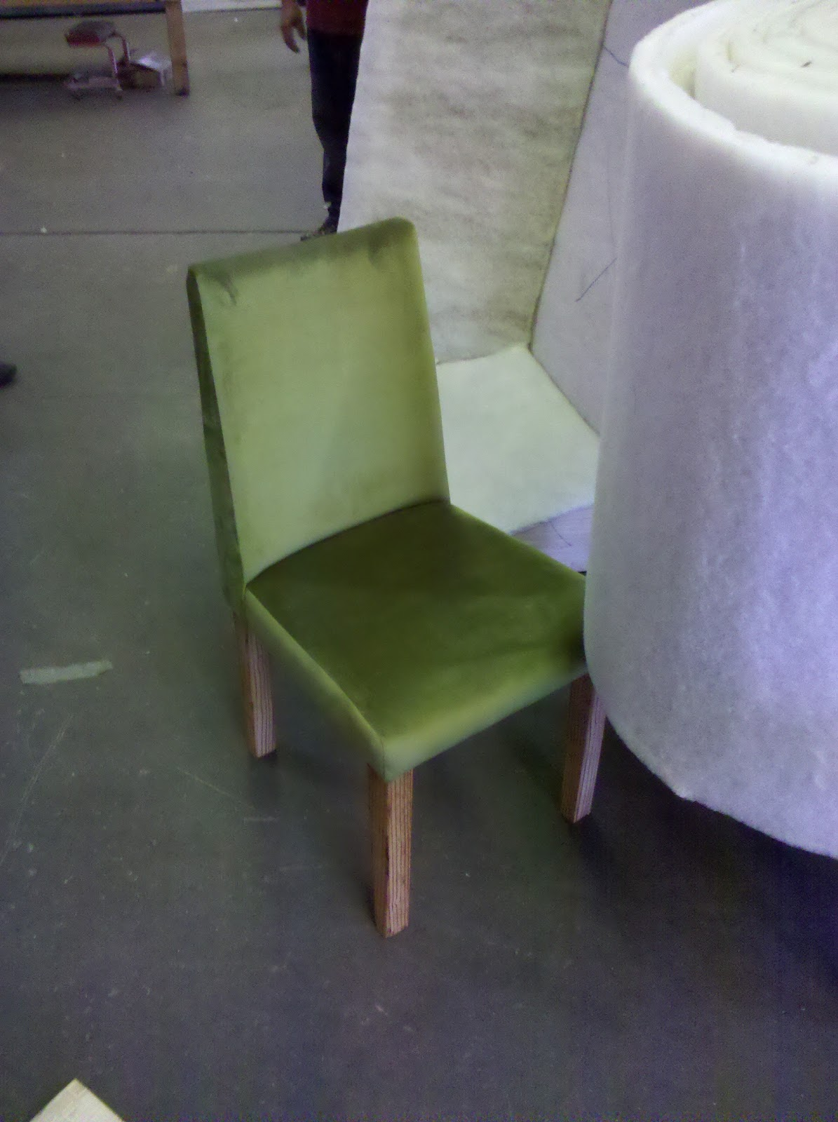 This First Chair Is A Rad Green Velvet With Reclaimed Doug Fir Legs. Weu0027re  Trying To Goldilocks The Dimensions At This Very Moment, Should Have A  Version Of ...