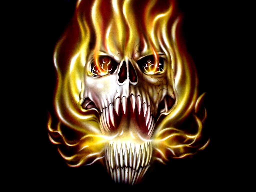 scunnert nation  Wallpaper Skulls With Flames