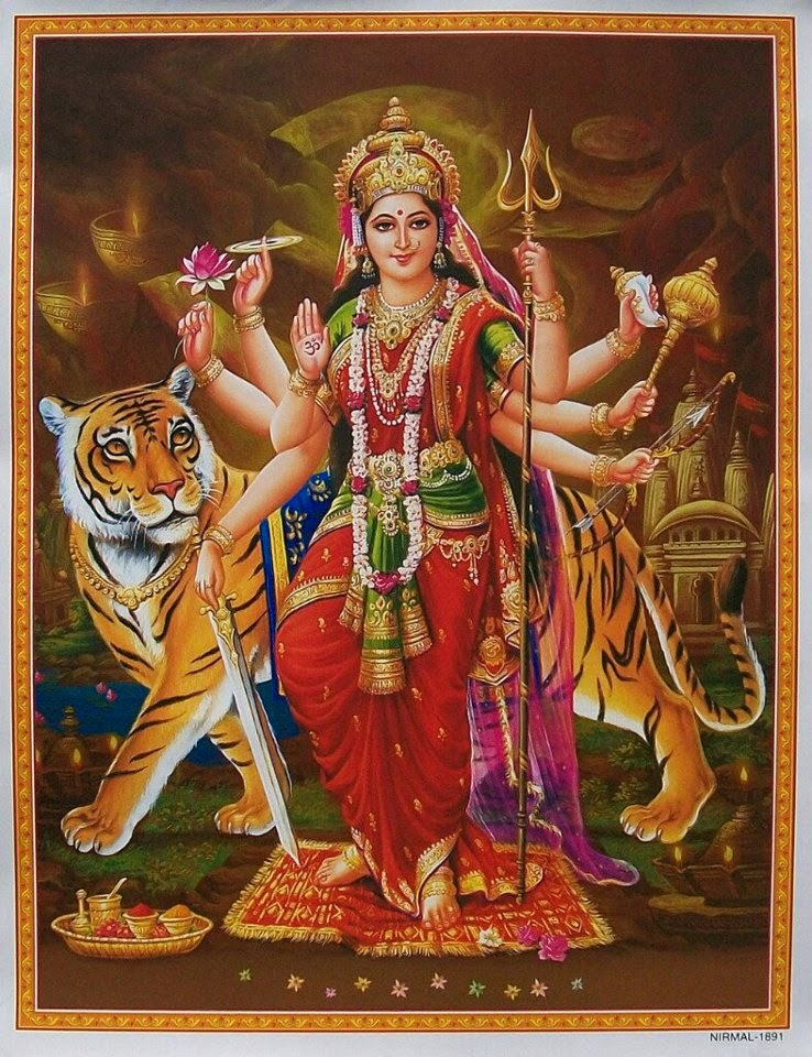 "Goddess Durga The Mother Goddess & Her Symbolism Goddess Durga is the mother of the universe and believed to be the power behind the work of creation, preservation, and destruction of the world. Since time immemorial she has been worshipped as the supreme power of the Supreme Being and has been mentioned in many scriptures - Yajur Veda, Vajasaneyi Samhita and Taittareya Brahman.  The Meaning of ""Durga""  The word ""Durga"" in Sanskrit means a fort, or a place which is difficult to overrun. Another meaning of ""Durga"" is ""Durgatinashini,"" which literally translates into ""the one who eliminates sufferings."" Thus, Hindus believe that goddess Durga protects her devotees from the evils of the world and at the same time removes their miseries.  The Many Forms of Durga  There are many incarnations of Durga: Kali, Bhagvati, Bhavani, Ambika, Lalita, Gauri, Kandalini, Java, Rajeswari, et al. Durga incarnated as the united power of all divine beings, who offered her the required physical attributes and weapons to kill the demon ""Mahishasur"". Her nine appellations are Skondamata, Kusumanda, Shailaputri, Kaalratri, Brahmacharini, Maha Gauri, Katyayani, Chandraghanta and Siddhidatri.  Durga's Many Arms  Durga is depicted as having eight or ten hands. These represent eight quadrants or ten directions in Hinduism. This suggests that she protects the devotees from all directions.  Durga's Three Eyes  Like Shiva, Mother Durga is also referred to as ""Triyambake"" meaning the three eyed Goddess. The left eye represents desire (the moon), the right eye represents action (the sun), and the central eye knowledge (fire).  Durga's Vehicle - the Lion  The lion represents power, will and determination. Mother Durga riding the lion symbolises her mastery over all these qualities. This suggests to the devotee that one has to possess all these qualities to get over the demon of ego.  Durga's Many Weapons  The conch shell in Durga's hand symbolizes the 'Pranava' or the mystic word 'Om', which indicates her holding on to God in the form of sound. The bow and arrows represent energy. By holding both the bow and arrows in one hand ""Mother Durga"" is indicating her control over both aspects of energy - potential and kinetic. The thunderbolt signifies firmness. The devotee of Durga must be firm like thunderbolt in one's convictions. Like the thunderbolt that can break anything against which it strikes, without being affected itself, the devotee needs to attack a challenge without losing his confidence. The lotus in Durga's hand is not in fully bloomed, It symbolizing certainty of success but not finality. The lotus in Sanskrit is called ""pankaja"" which means born of mud. Thus, lotus stands for the continuous evolution of the spiritual quality of devotees amidst the worldly mud of lust and greed. The ""Sudarshan-Chakra"" or beautiful discus, which spins around the index finger of the Goddess, while not touching it, signifies that the entire world is subservient to the will of Durga and is at her command. She uses this unfailing weapon to destroy evil and produce an environment conducive to the growth of righteousness. The sword that Durga holds in one of her hands symbolizes knowledge, which has the sharpness of a sword. Knowledge which is free from all doubts, is symbolized by the shine of the sword. Durga's trident or ""trishul"" is a symbol of three qualities - Satwa (inactivity), Rajas (activity) and Tamas (non-activity) - and she is remover of all the three types of miseries - physical, mental and spiritual. Devi Durga stands on a lion in a fearless pose of ""Abhay Mudra"", signifying assurance of freedom from fear. The universal mother seems to be saying to all her devotees: ""Surrender all actions and duties onto me and I shall release thee from all fears""."