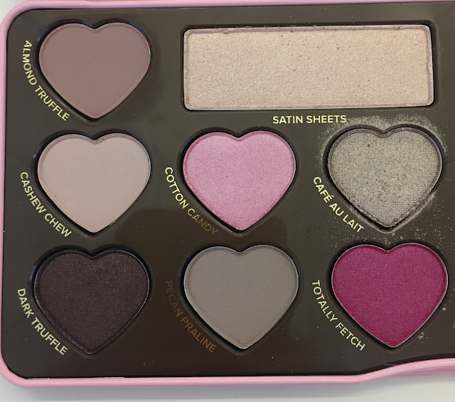 Too Faced, Too Faced Chocolate Bon Bons Eye Shadow Collection, eyeshadow, eye makeup, makeup palette, Almond Truffle, Cashew Chew, Dark Truffle, Satin Sheets, Cotton Candy, Pecan Praline, Totally Fetch, Cafe Au Lait