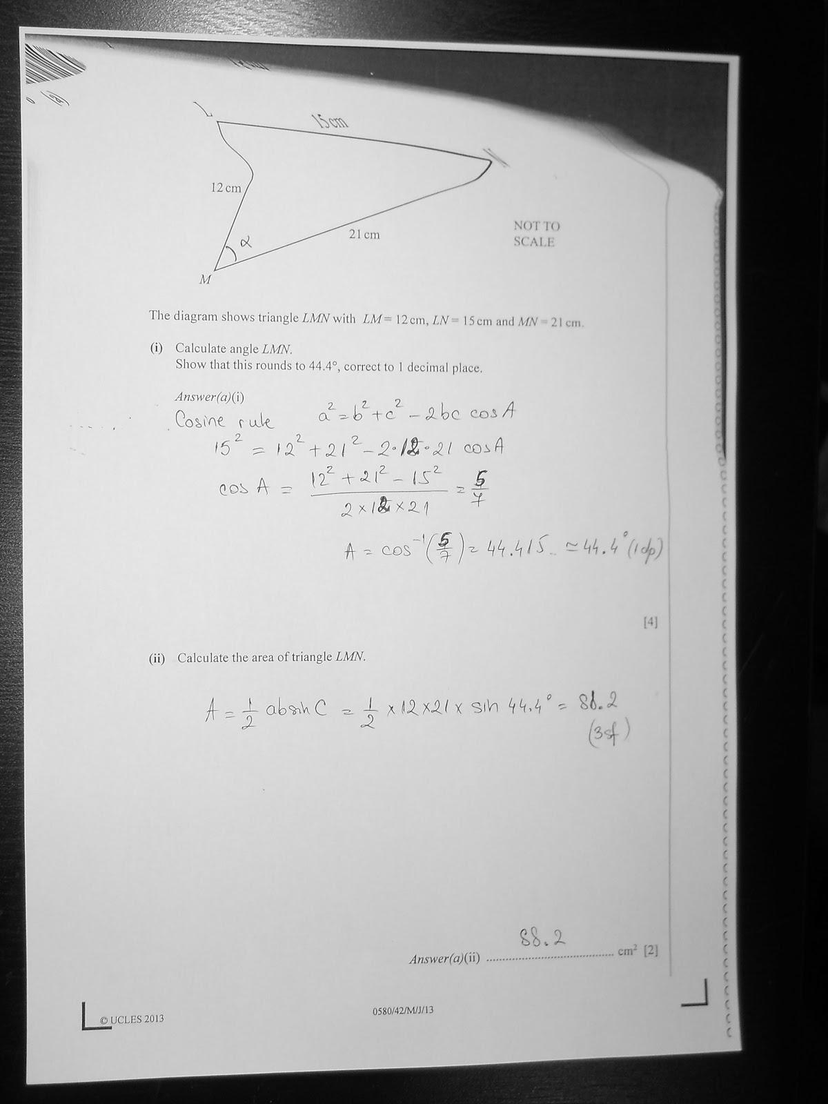 answer igcse maths paper term