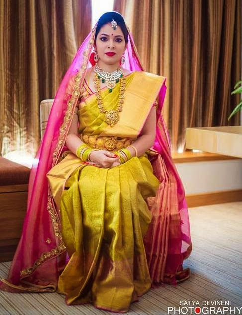 Bride in Greenish Gold Silk Saree