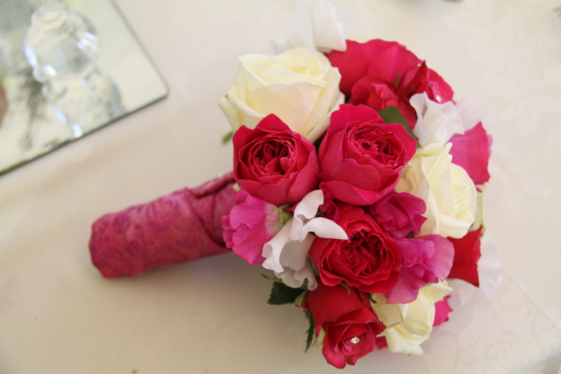 The flower magician hot pink ivory wedding bouquet you might also like mightylinksfo