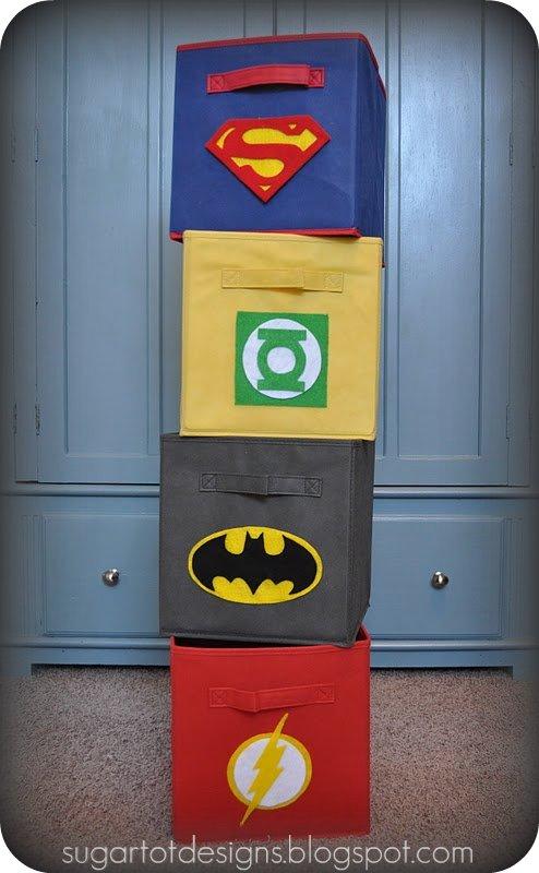 Superhero boys room storage bins and more design dazzle for Decoration chambre super heros