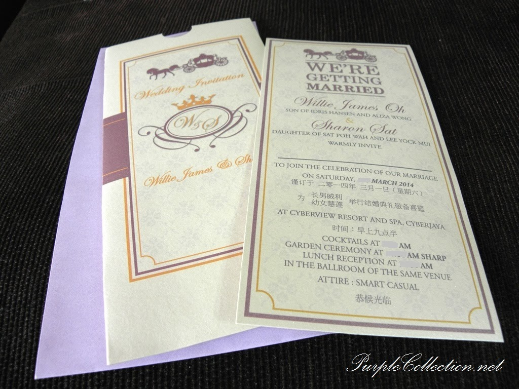 horse carriage, pocket, wedding card, chinese, malay, kad kahwin, cyberview resort and spa, cyberjaya, garden ceremony, purple, envelope