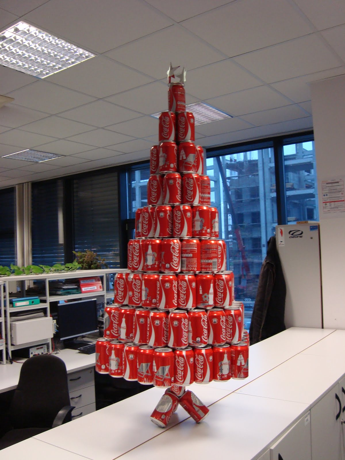 Oh look a soda can christmas tree the christmas tree in for Office christmas trees