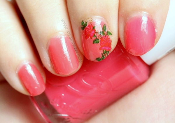Etude House nail polish OR202 - Grapefruit syrup with pink rose vine water decal