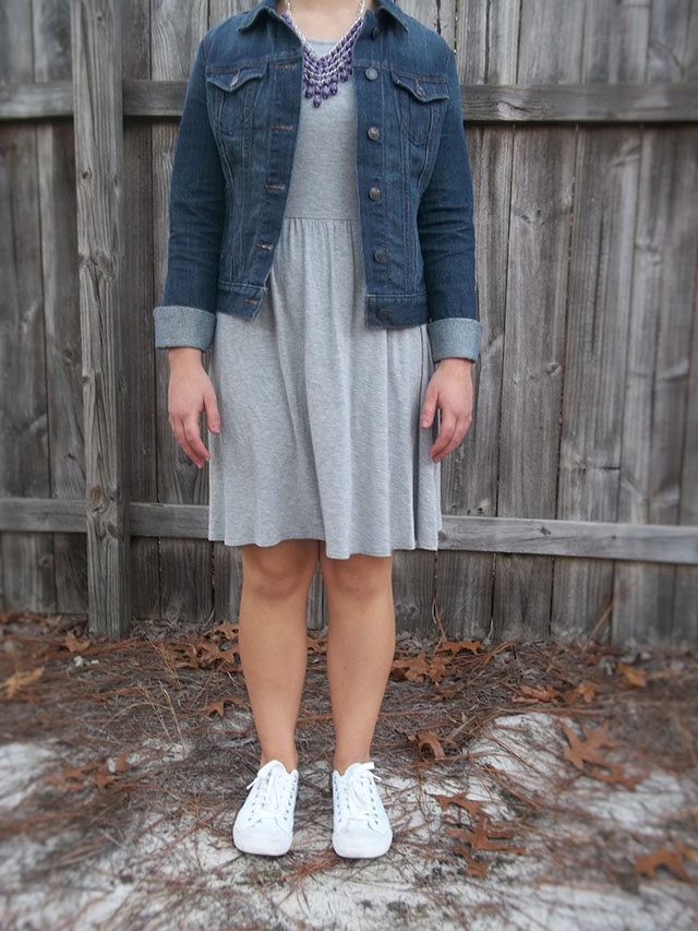 dressember jean jackets grey dress purple statement necklace white converse sneakers outfit inspiration casual sporty