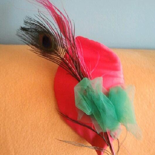 tocados, coral, baratos, plumas, pavo real, verde, económico, tela
