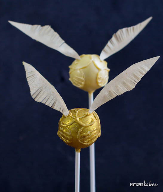 Get the full tutorial to make these fun Golden Snitch Cake Pops! The kids are going to love them!