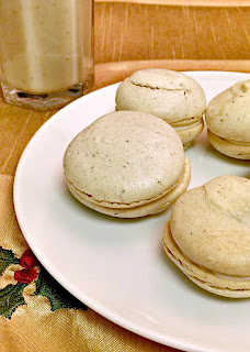 Gingerbread Macaron w/ Brown Sugar Bourbon Cream Cheese Filling from A Kitchen Hoor