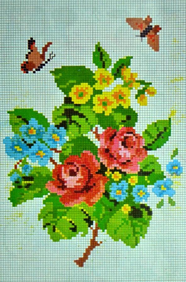 pola sulam kristik bunga dan kupu