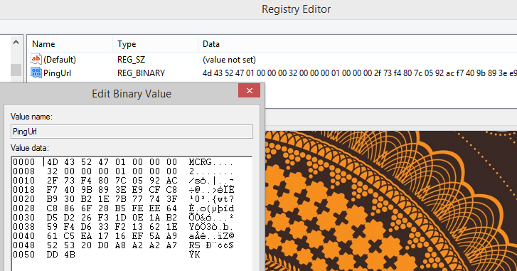 McAfee Security Center, Josh Wieder, PingUrl, Registry, Encrypted Binary Value