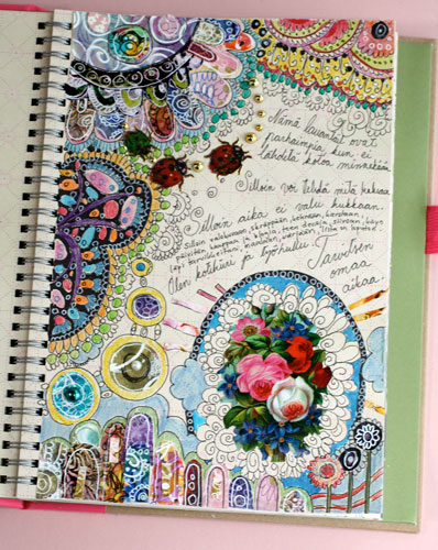 Pretty Book Cover Art : Peony and parakeet pretty art journaling