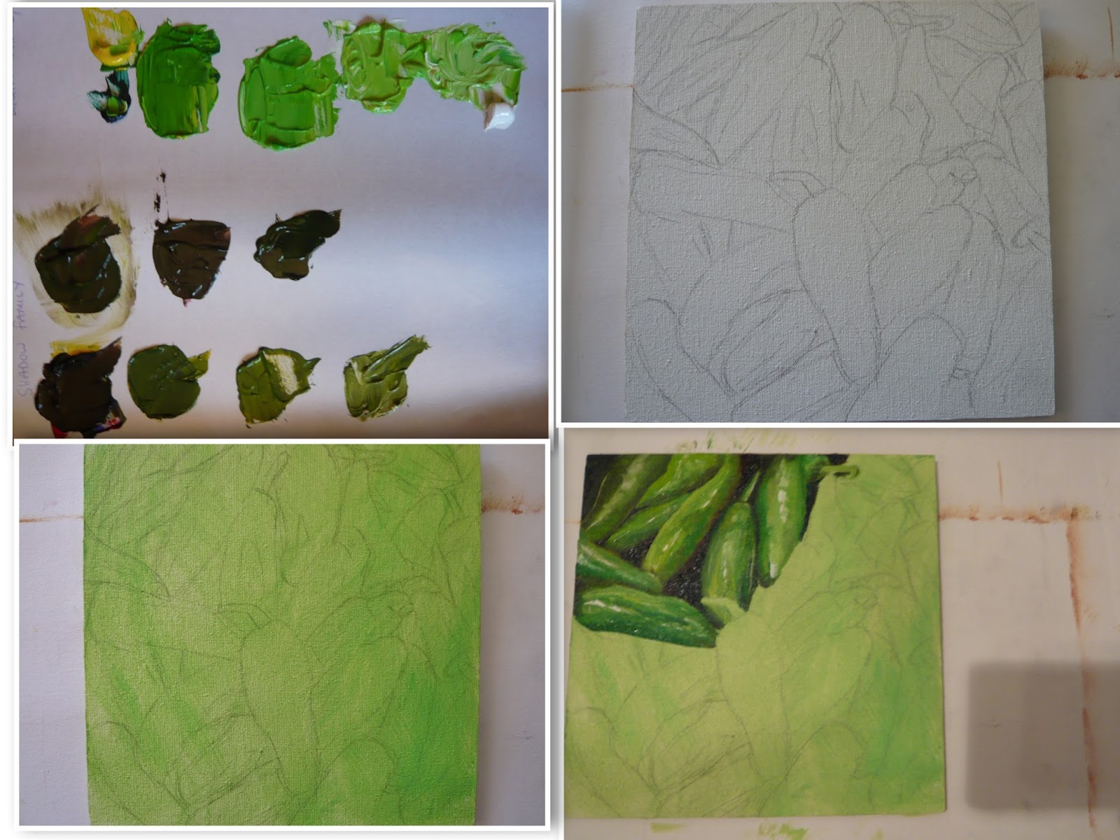 work-in-progress or WIP of green chilli pepper oil painting