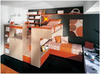 BLACK ORANGE BEDROOMS FOR CHILDREN LOFT STYLE – DORMITORY FOR YOUNG PEOPLE