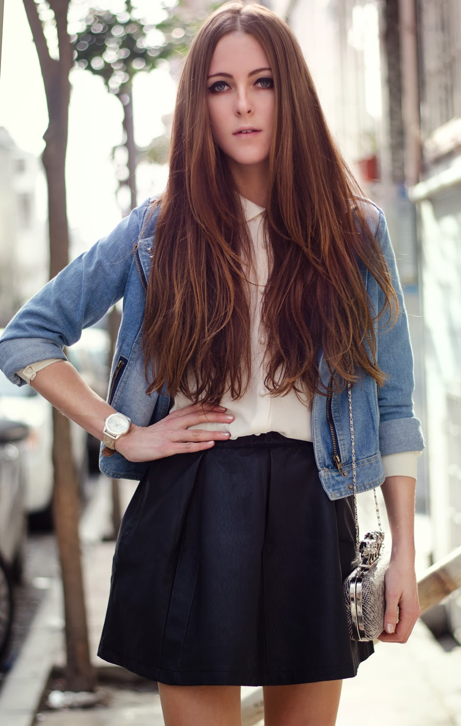 fashion blogger istanbul, street style 2014, studded denim, denim jacket outfit, leather skirt outfit, mango heels, long hair,