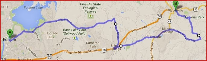 Map of alternate route from Folsom to Placerville, California