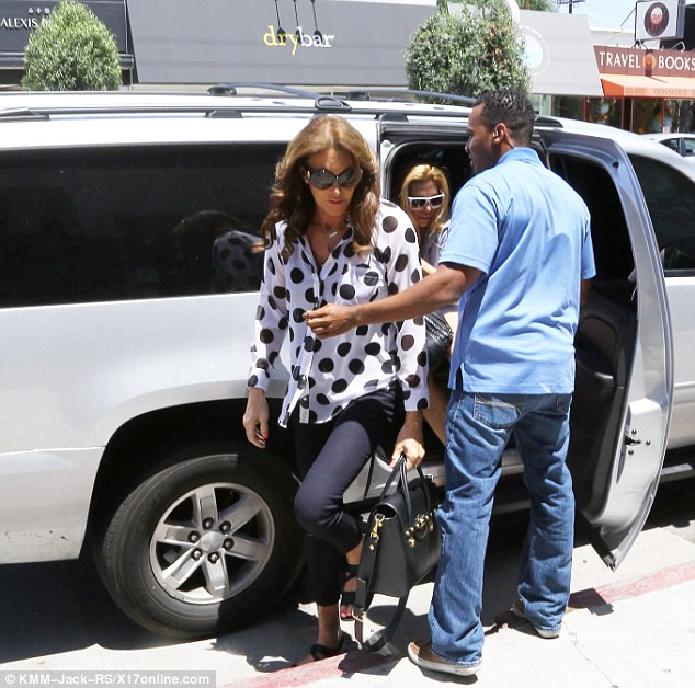 Caitlyn Jenner Steps Out In Polka Top And Nameplate Necklace After Meeting Ex-wife Kris Jenner