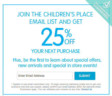 Childrens place coupon october 2018