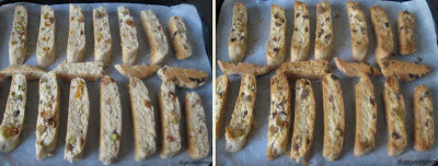 Biscotti before and after baking