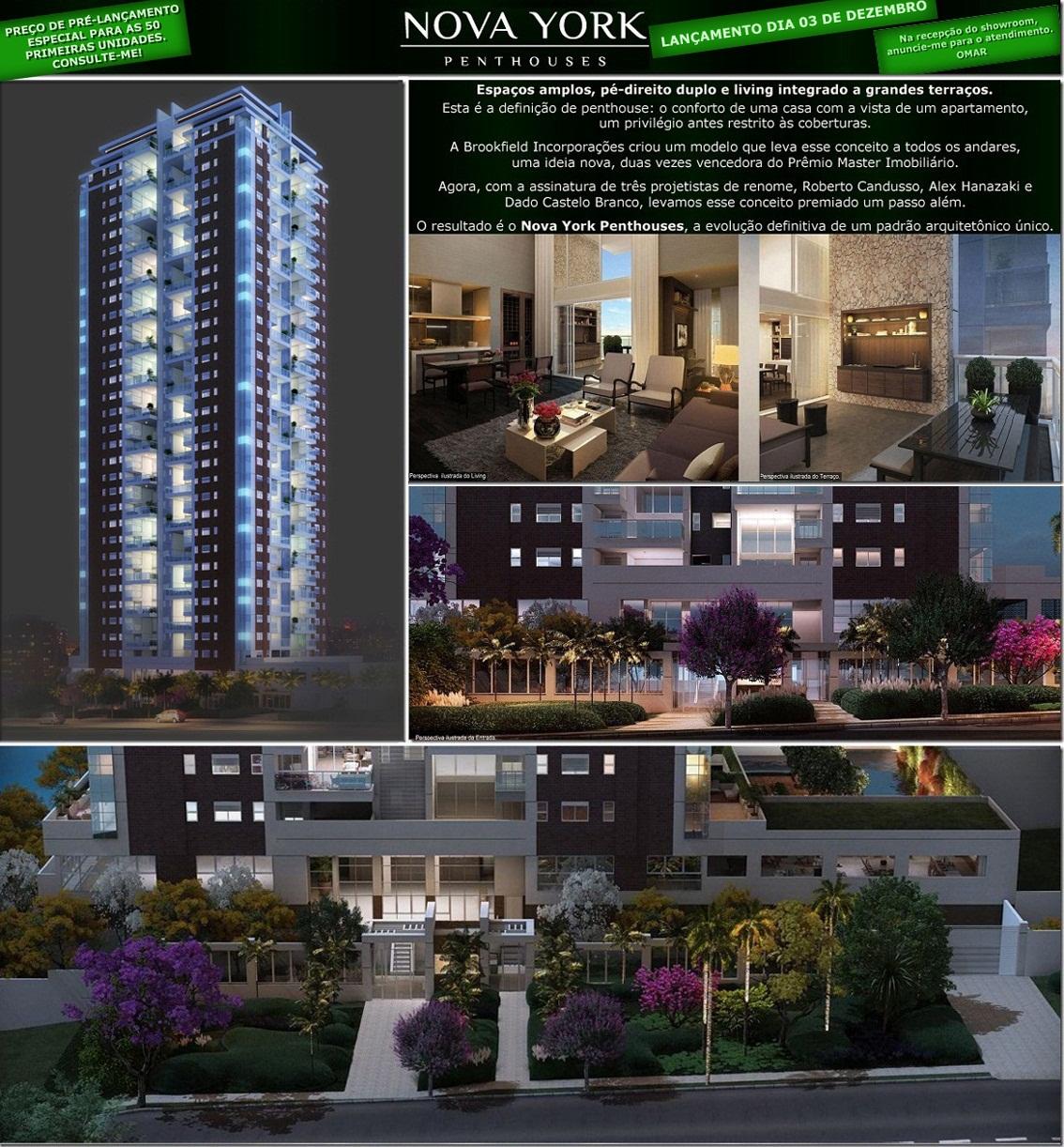 NOVA YORK PENTHOUSES - 4 dormitórios ou 4 suítes,162 a 197m², living e terraço com pé-direito duplo