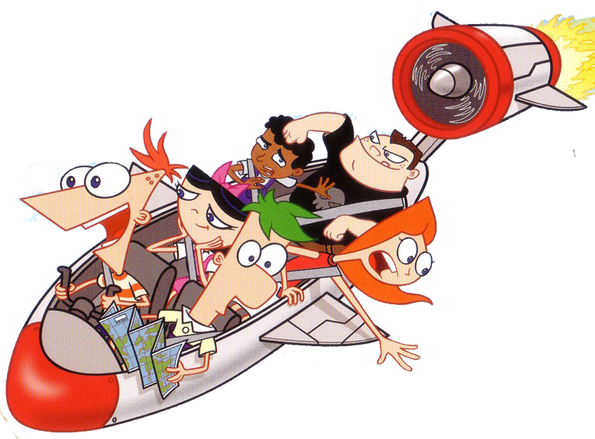 los personajes de phineas y ferb en cohete