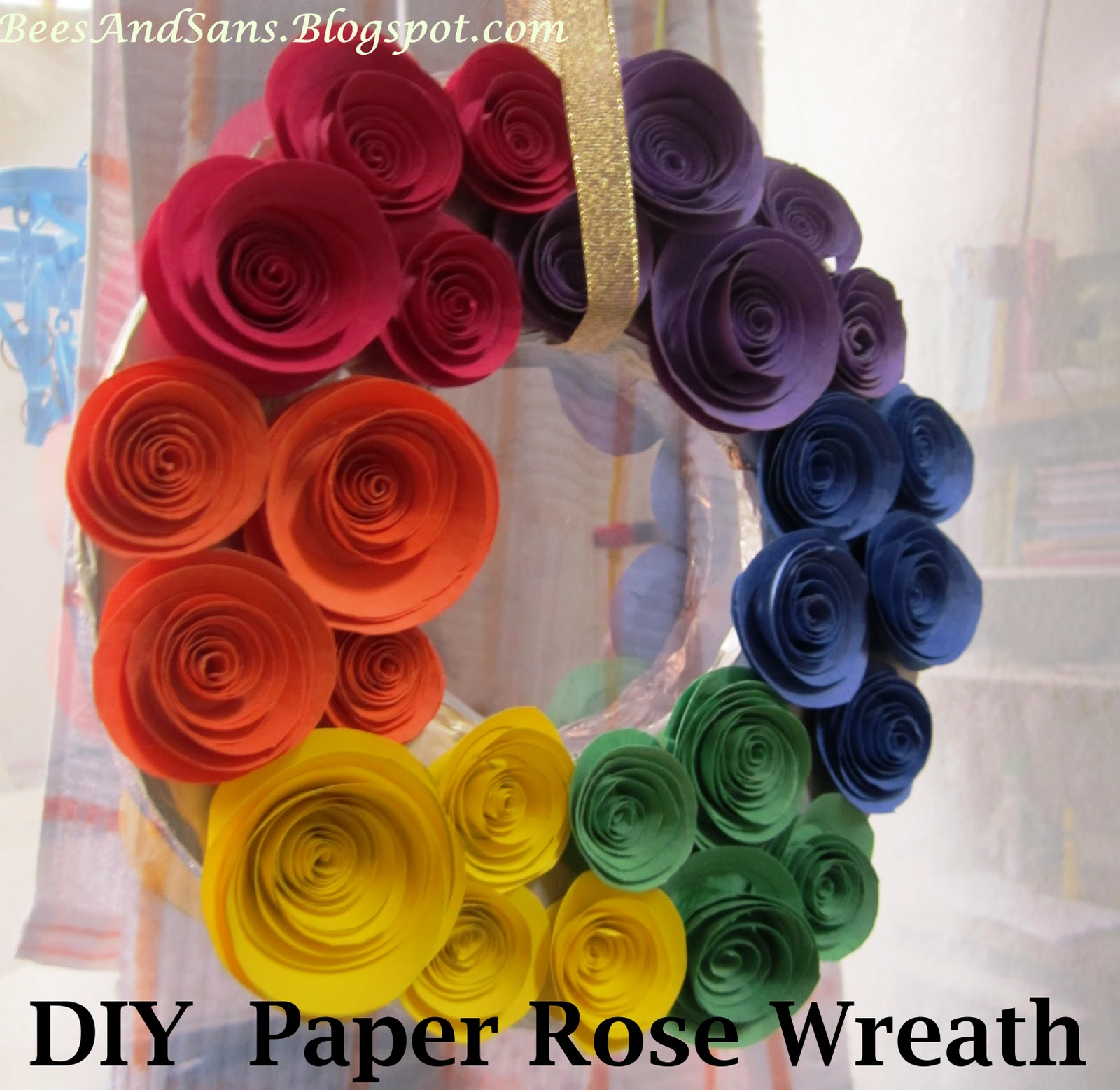 Bees and sans diy rainbow coloured paper rose wreath diy rainbow coloured paper rose wreath mightylinksfo