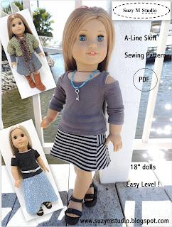 A-Line Skirt AGD size - PDF Pattern  4.50