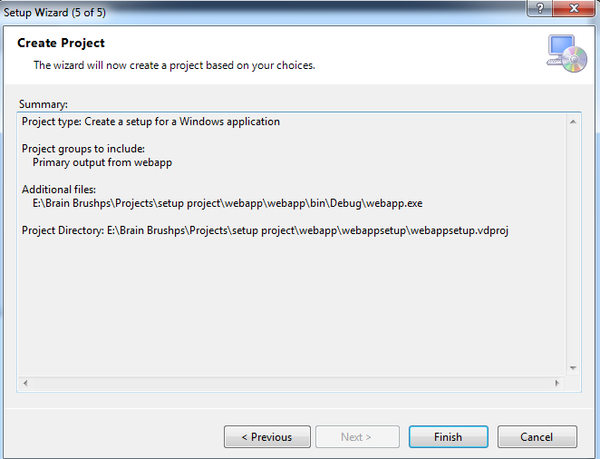 create setup in visual studio