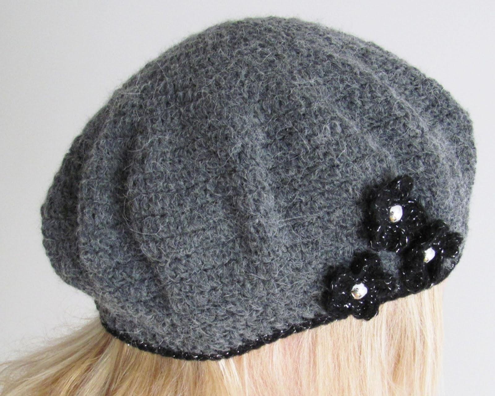 Crochet Beret Hat Pattern Easy : Linas Land: Embellished Basic Crochet Beret