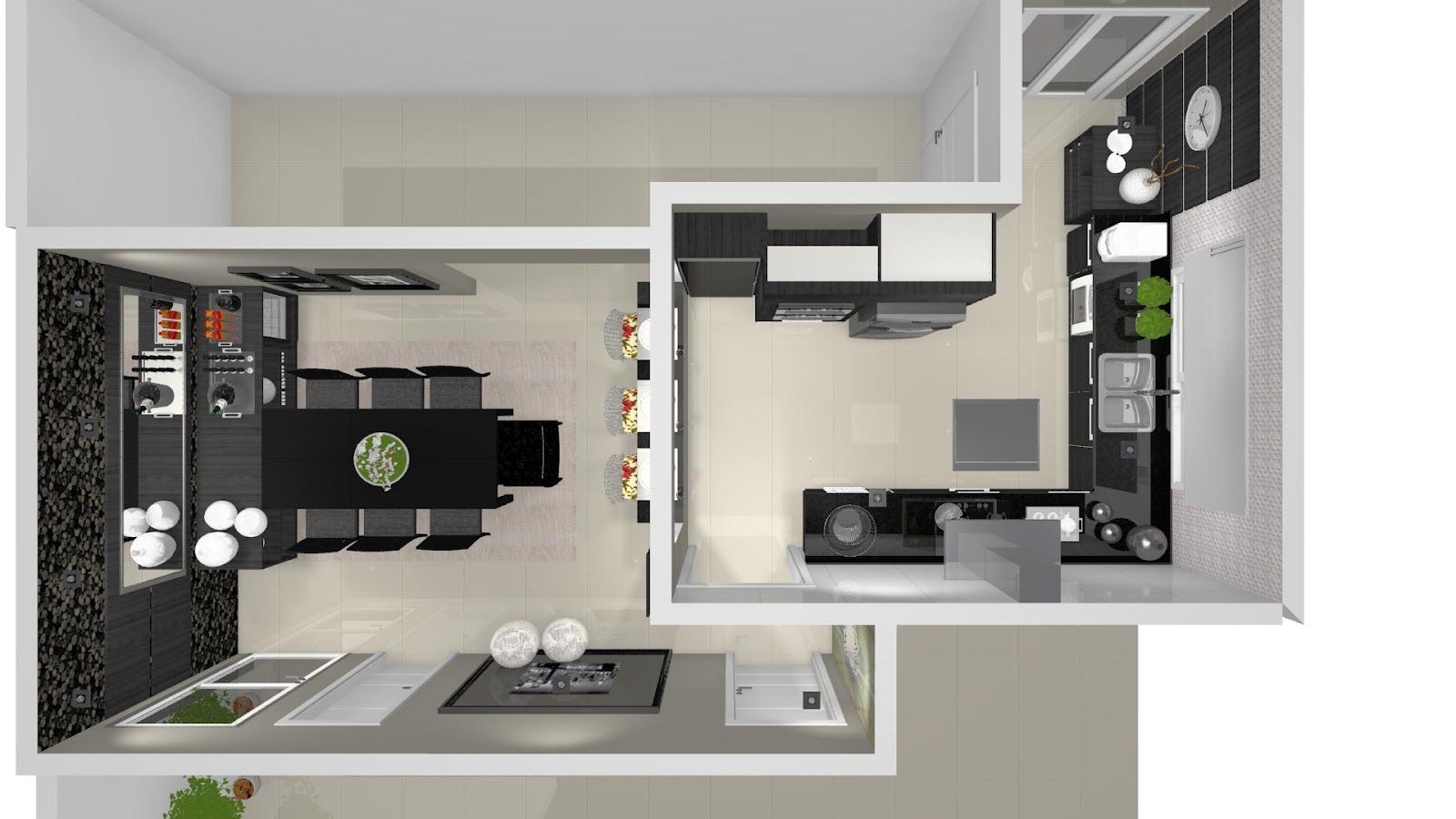 Projeto de sala de jantar e cozinha desenvolvidos com móveis  #4D6822 1600 900